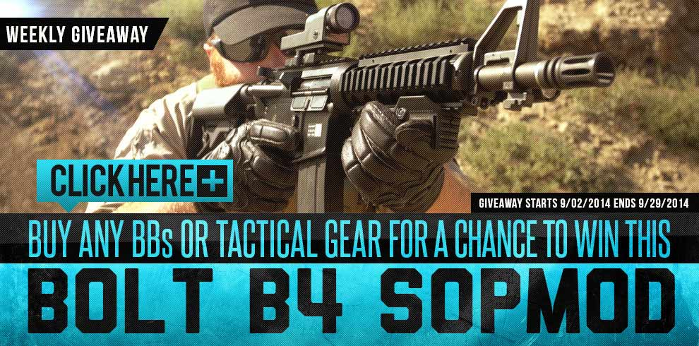 Buy any BBs or tactical gear for a chance to win a Bolt B4
