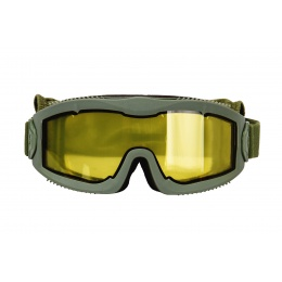 Lancer Tactical Aero Protective OD Green Airsoft Goggles (Yellow Lens)