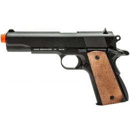 WellFire 1911-A1 Spring Powered Airsoft Pistol (Color: Black / Faux Wood)
