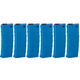 Lonex Pack of 6 200rd Mid Capacity M4/M16 Polymer Airsoft Magazine - Blue