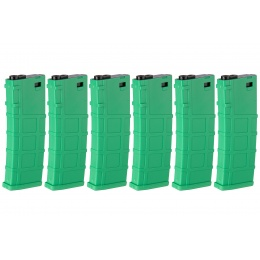 Lonex 6 Pack 200rd Mid Capacity M4/M16 Polymer Airsoft Magazine - Green