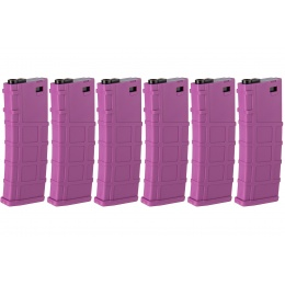Lonex 6 Pack 200rd Mid Capacity M4/M16 Polymer Airsoft Magazine - Purple