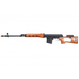A&K SVD Dragunov Electric Airsoft Sniper Rifle w/ Real Wood Furniture & Fixed Sportsman Stock (Color: Black / Wood)