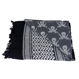 Lancer Tactical Multi-Purpose Jolly Roger Shemagh Face Head Wrap - BLACK/WHITE