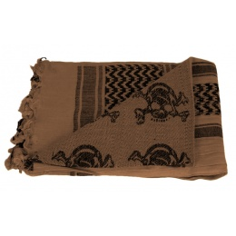 AMA Tactical Airsoft Cotton Shemagh [Skulls] - BROWN / BLACK