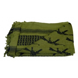 Lancer Tactical Multi-Purpose Shemagh Face Head Wrap w/ AK47 Pattern - OD GREEN