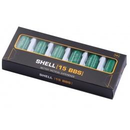 WST 15 Round Shotgun Shells for Multi & Single-Shot Airsoft Shotguns (Green / 6 Pack)