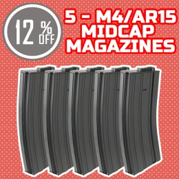 Holiday Upgrade Bundle: 5 Pack of Lancer Tactical Midcap M4 AEG Mags