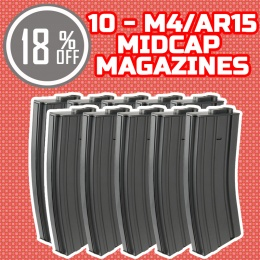 Holiday Upgrade Bundle: 10 Pack of Lancer Tactical Midcap M4 AEG Mags