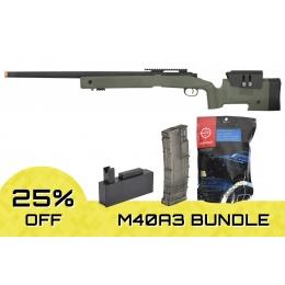 Airsoft Megastore Lancer Tactical M40A3B Bundle (Color: OD Green)