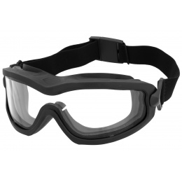 Lancer Tactical Double Layer Airsoft Goggles [Clear Lens] - BLACK