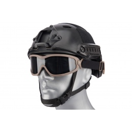 Lancer Tactical Double Layer Airsoft Goggles [Smoke Lens] - TAN
