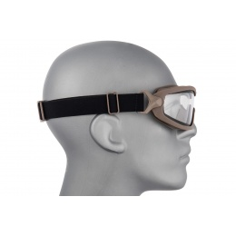Lancer Tactical Double Layer Airsoft Goggles [Clear Lens] - TAN