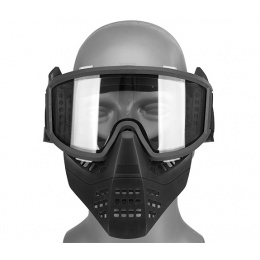 Lancer Tactical Ventilated Airsoft Full Face Mask [Clear Lens] - BLACK