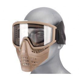 Lancer Tactical Ventilated Airsoft Full Face Mask [Clear Lens] - TAN
