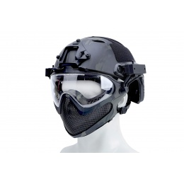 WST Pilot Full Face Helmet w/ Plastic Mesh Face Guard (Color: Black Camo)
