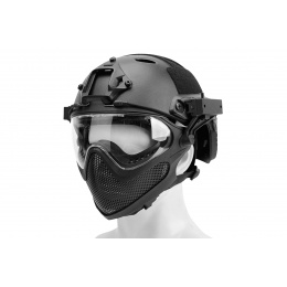 WST Pilot Full Face Helmet w/ Plastic Mesh Face Guard (Color: Black)