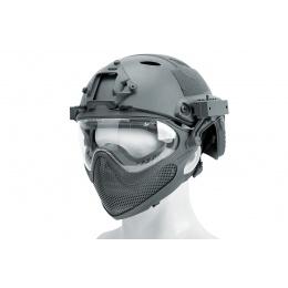 WST Pilot Full Face Helmet w/ Plastic Mesh Face Guard (Color: Gray)
