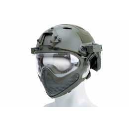WST Pilot Full Face Helmet w/ Plastic Mesh Face Guard (Color: OD Green)