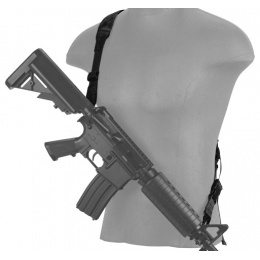 Lancer Tactical Airsoft Quick Detach 2-Point Padded Weapon Sling [Nylon] - BLACK
