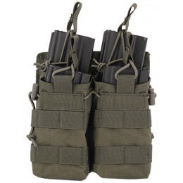 Lancer Tactical 600D Nylon Bungee Open Top M4 Magazine Pouch - OD GREEN