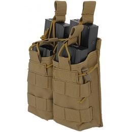 Lancer Tactical 600D Nylon Bungee Open Top M4 Magazine Pouch - TAN