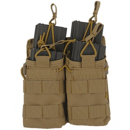 Lancer Tactical 600D Nylon Bungee Open Top M4 Magazine Pouch - TAN