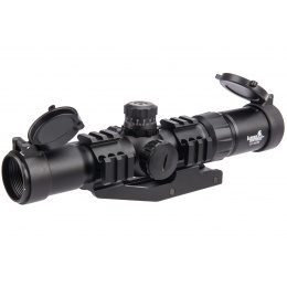 Lancer Tactical Airsoft 1.5-4x30 Illuminated MIL Dot Rifle Scope