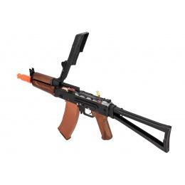 Double Bell AK74U AEG Airsoft Rifle w/ Folding Triangle Stock - BLACK / WOOD