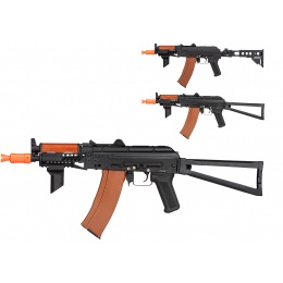 Double Bell AK74U Tactical AEG Airsoft Rifle - BLACK / WOOD