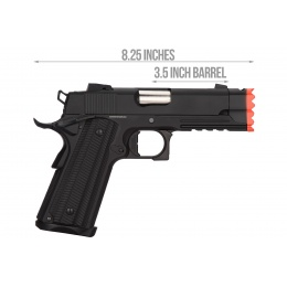 Golden Eagle IMF 3317 Hi-Capa 1911 Gas Blowback Airsoft Pistol w/ Muzzle Brake - BLACK