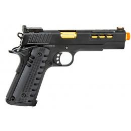 Golden Eagle 3368 OTS .45 Hi-Capa Gas Blowback Pistol w/ Slide Lightening Cuts (Color: Black / Gold Barrel)
