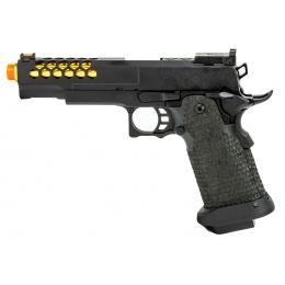Golden Eagle 3339 OTS .45 Hi-Capa Gas Blowback Pistol w/ Hive Vented Slide & Standard Grip Stippling (Color: Black / Gold Barrel)