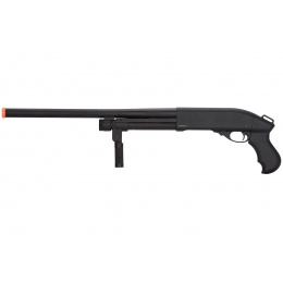 Golden Eagle M870 3/6-Shot Pump Action Gas Airsoft Shotgun w/ Forend Grip - BLACK