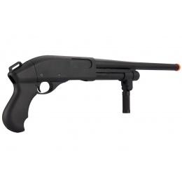 Golden Eagle M870 3/6-Shot Pump Action Gas Airsoft Shotgun w/ Forend Grip - BLACK