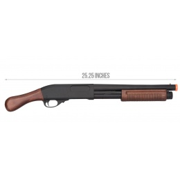 Golden Eagle M870 3/6-Shot Pump Action Gas Airsoft Shotgun [Sawed-Off] - WOOD
