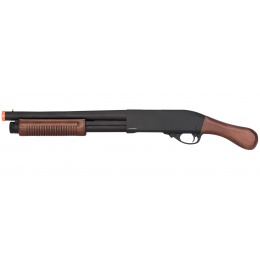 Golden Eagle M870 3/6-Shot Pump Action Gas Airsoft Shotgun [Sawed-Off] - WOOD