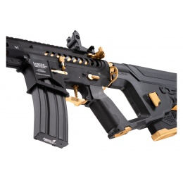Lancer Tactical [Low FPS] Enforcer Blackbird Skeleton AEG w/ Alpha Stock (Color: Black and Gold)