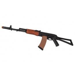 Lancer Tactical AK-Series AK-47N AEG Airsoft Rifle w/ Skeleton Folding Stock (Real Wood Furniture)