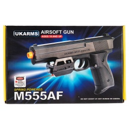 UK Arms M555AF Spring Airsoft Pistol w/ Laser and Flashlight