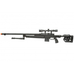 WellFire MB4415BAB Bolt Action Airsoft Sniper Rifle w/ Scope and Bipod (Color: Black)