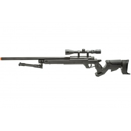 WellFire MBG22BAB Bolt Action Gas Powered Sniper Rifle w/ Scope and Bipod (Color: Black)