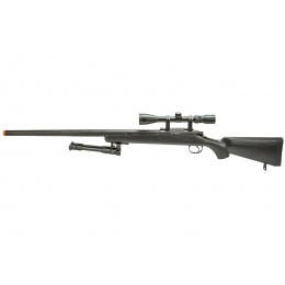 WellFire MBG23BAB Bolt Action Gas Powered Sniper Rifle w/ Bipod and Scope (Color: Black)