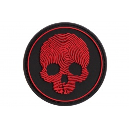 Fingerprint Skull PVC Patch (Color: Black / Red)