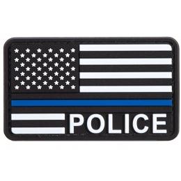 US Flag with Police Blue Line PVC Patch (Color: Black / White / Blue)