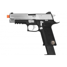 WE Tech P-Virus Two-Tone Gas Blowback Airsoft Pistol - BLACK/SILVER