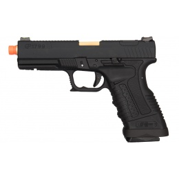WE Tech GP1799 T1 Gas Blowback Airsoft Pistol - BLACK / GOLD BARREL