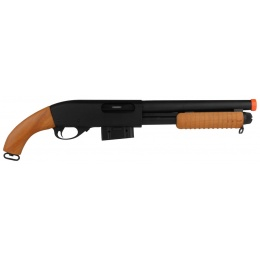 A&K 870 Pump Action Metal Airsoft Sawed-Off Shotgun - REAL WOOD