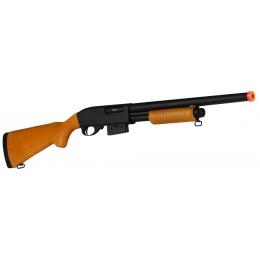 A&K 870 Pump Action Metal Airsoft Shotgun w/ Full Stock  - REAL WOOD