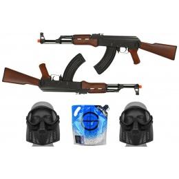 Two-Player Package: Dual DE AK47 Kalash AEG Rifles w/ Essentials